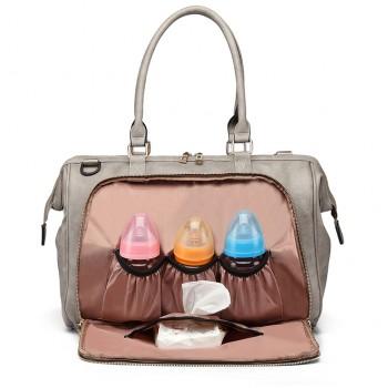 LT6863-MISS LULU LEATHER 3PCS SET MATERNITY CHANGING BAG SHOULDER BAG GREY