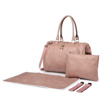 LT6863-MISS LULU LEATHER 3PCS SET MATERNITY CHANGING BAG SHOULDER BAG PINK