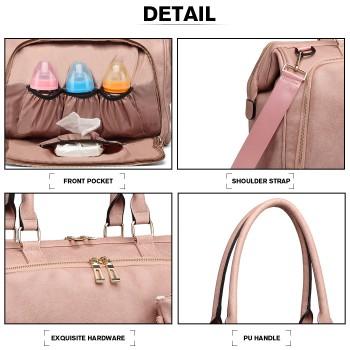LT6863-MISS LULU LEATHER 3PCS SET MATERNITY CHANGING BAG SHOULDER BAG PINK
