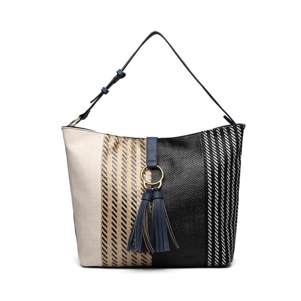 LT6864 - Miss Lulu Woven Straw Block Panel Tote Bag - Navy