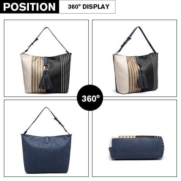 LT6864 - Miss Lulu Woven Straw Block Panel Tote Bag - Navy
