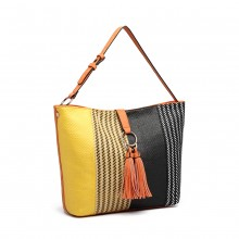 LT6864-MISS LULU WOMEN DESIGNER HANDTASCHE PU LEDER PATCHWORK TOTE UND SHOPPER TASCHE ORANGE