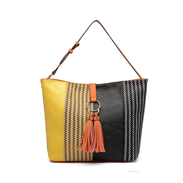 LT6864 - Miss Lulu Woven Straw Block Panel Tote Bag - Orange