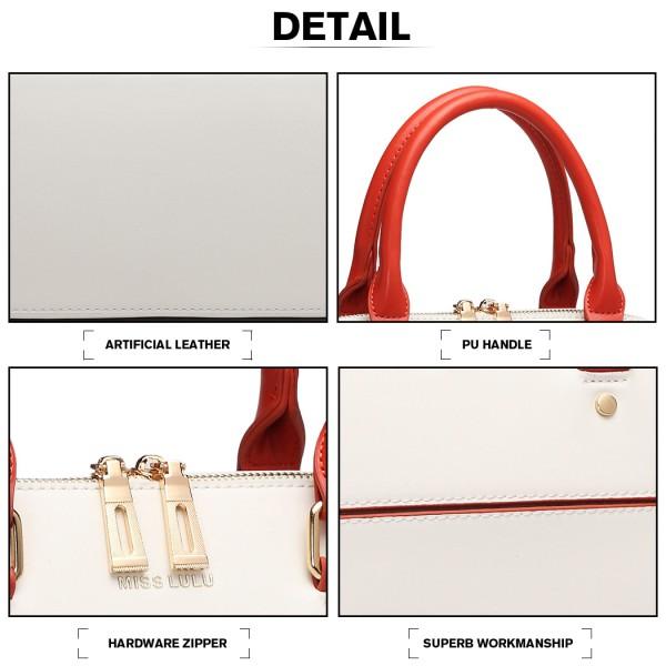LT6905 - Miss Lulu Contrasting Detail Bowling Style Shoulder Bag - Beige