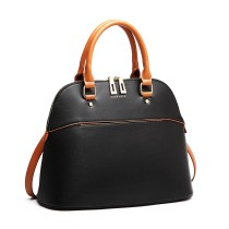 LT6905 --Miss Lulu Contrasting Detail Bowling Style Shoulder Bag --Black