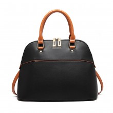 LT6905 - Miss Lulu Contrasting Detail Bowling Style Shoulder Bag - Black