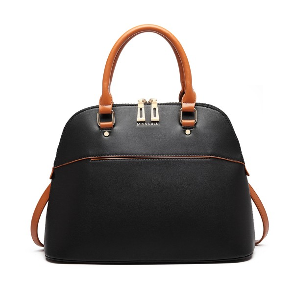 LT6905 - Miss Lulu Contrasting Detail Bowling Style Shoulder Bag - Black
