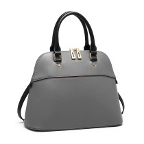 LT6905 --Miss Lulu Contrasting Detail Bowling Style Shoulder Bag --Grey