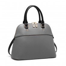 LT6905 - Miss Lulu Contrasting Detail Bowling Style Shoulder Bag - Grey