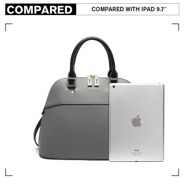LT6905 - Miss Lulu Contrasting Detail Bowling Style Shoulder Bag - Grey