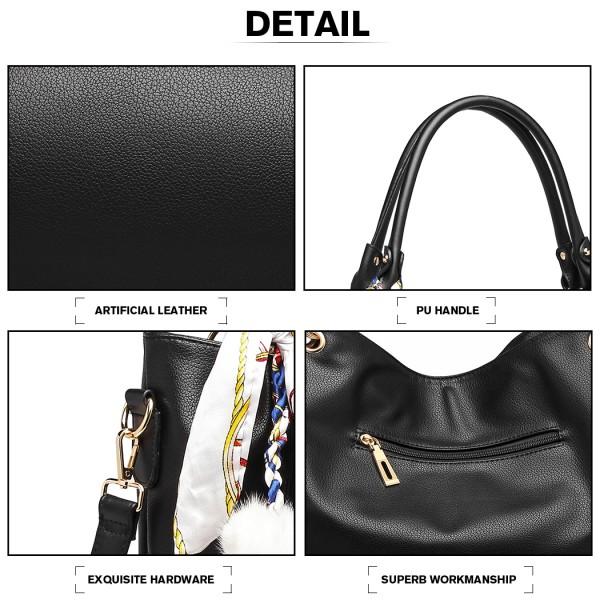 LT6911 - Miss Lulu Leather Look Hobo Slouch Shoulder Bag - Black