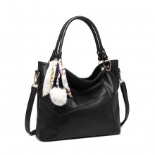 LT6911 - Miss Lulu Leather Look Hobo Slouch Shoulder Bag - Black