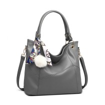 LT6911 --Miss Lulu Leather Look Hobo Slouch Shoulder Bag --Grey