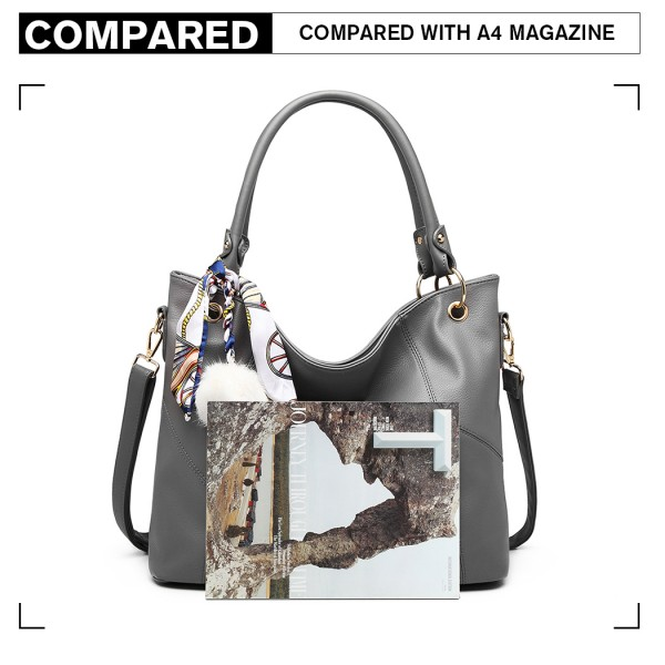 LT6911 - Miss Lulu Leather Look Hobo Slouch Shoulder Bag - Grey