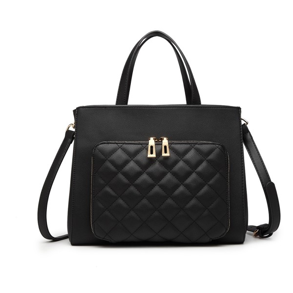 LT6921 - Miss Lulu Classic Quilted Handbag - Black