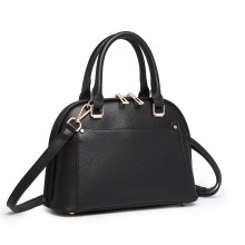 LT6922 - Miss Lulu Klassisch Bowler Handtasche - Schwarz