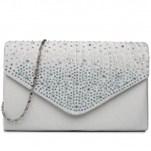 LY1682 - Miss Lulu Structured Diamante Studded Envelope Clutch Bag Beige