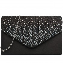 LY1682 - Miss Lulu Structured Diamante Studded Envelope Clutch Bag Black
