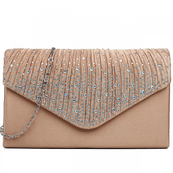 LY1682 - Miss Lulu Structured Diamante Studded Envelope Clutch Bag Champagne