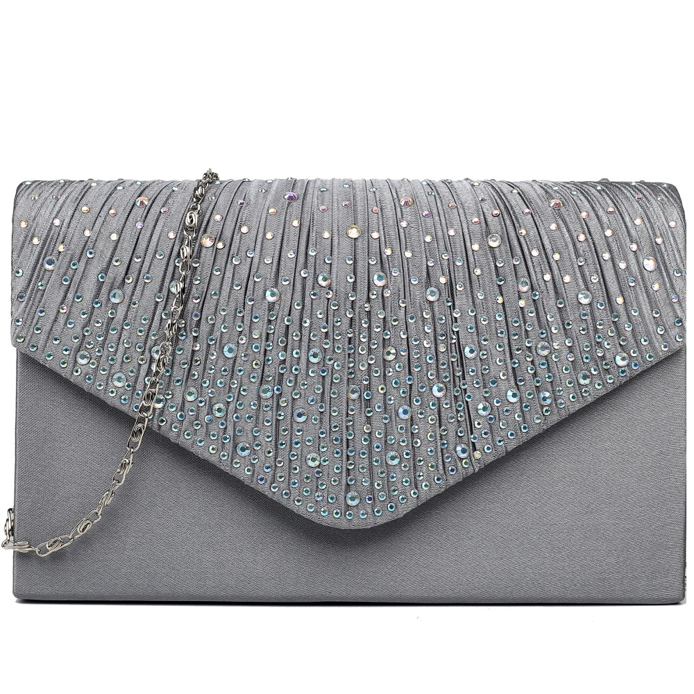 LY1682 Miss Lulu Structured Diamante Studded Envelope