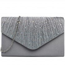 LY1682 - Miss Lulu Structured Diamante Studded Envelope Clutch Bag Grey
