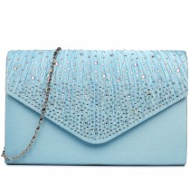 LY1682 - Miss Lulu Structured Diamante Studded Envelope Clutch Bag Light Blue