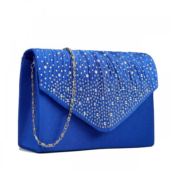 LY1682 - Miss Lulu Structured Diamante Studded Envelope Clutch Bag Navy