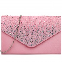 LY1682 - Miss Lulu Structured Diamante Studded Envelope Clutch Bag Pink