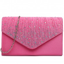 LY1682 - Miss Lulu Structured Diamante Studded Envelope Clutch Bag Plum