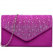 LY1682 - Miss Lulu Structured Diamante Studded Envelope Clutch Bag Purple