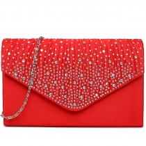 LY1682 - Miss Lulu Structured Diamante Studded Envelope Clutch Bag Red