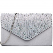 LY1682 - Miss Lulu Structured Diamante Studded Envelope Clutch Bag Silver