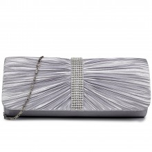 LY1683 - Miss Lulu Ruched Diamante Studded Evening Clutch Bag Silver