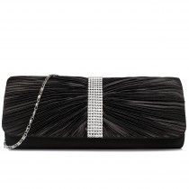 LY1683 - Miss Lulu Ruched Diamante Studded Evening Clutch Bag Black