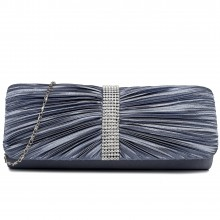 LY1683 - Miss Lulu Ruched Diamante Studded Evening Clutch Bag Grey