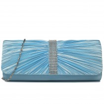 LY1683 - Miss Lulu Ruched Diamante Studded Evening Clutch Bag Light Blue