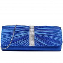 LY1683 - Miss Lulu Ruched Diamante Studded Evening Clutch Bag Navy
