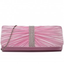 LY1683 - Miss Lulu Ruched Diamante Studded Evening Clutch Bag Pink