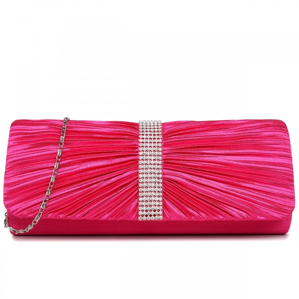 LY1683 - Miss Lulu Ruched Diamante Studded Evening Clutch Bag Plum