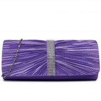 LY1683 - Miss Lulu Ruched Diamante Studded Evening Clutch Bag Purple