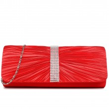 LY1683 - Miss Lulu Ruched Diamante Studded Evening Clutch Bag Red