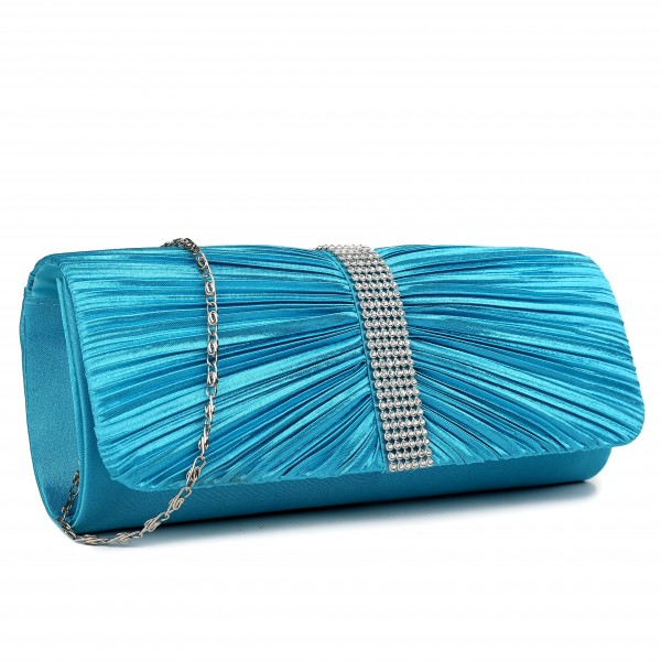 LY1683 - Miss Lulu Ruched Diamante Studded Evening Clutch Bag Turquoise