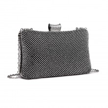 LY1825-Miss Lulu Diamante Embellished Clutch Bag Black