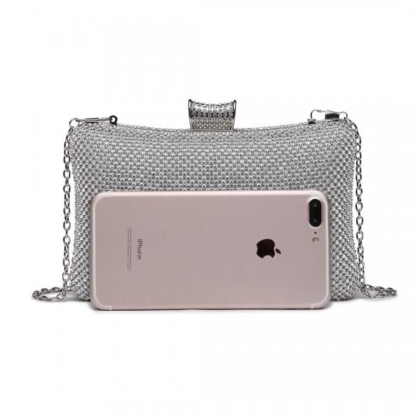 LY1825-Miss Lulu Diamante Embellished Clutch Bag White