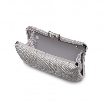 LY1825-Miss Lulu Diamante Embellished Clutch Bag White