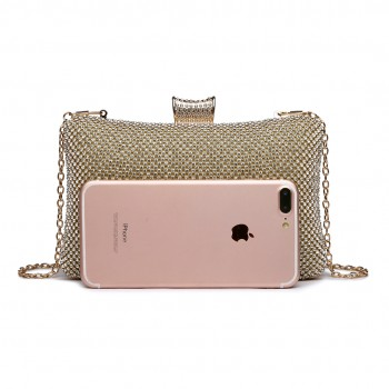 LY1825-Miss Lulu Diamante Embellished Clutch Bag Gold
