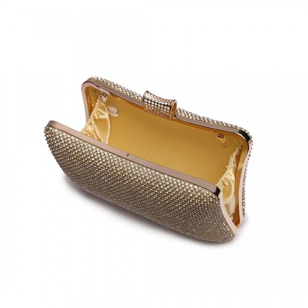 LY1825-Miss Lulu Diamante Embellished Clutch Bag Gold