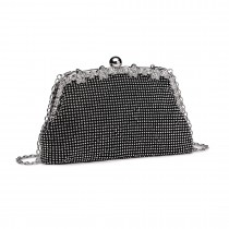 LY1826-Miss Lulu Diamante Embellished Banquet Clutch Bag Black