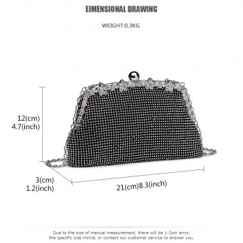 LY1826-Miss Lulu Diamante Embellished Banquet Clutch Bag Black