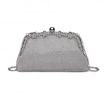 LY1826-Miss Lulu Diamante Embellished Banquet Clutch Bag White